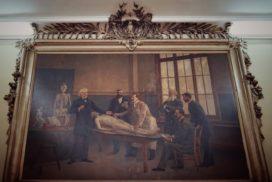 Tabloul de Coquelet Mereau cu profesorul Sappey examinându-l pe Aristide Peride care susţinea proba practică de anatomie