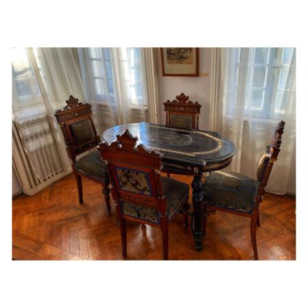 Masă și scaune cu intarsii de fildeș - mobilier original al Palatului - donație de la Florentza Georgetta Marincu