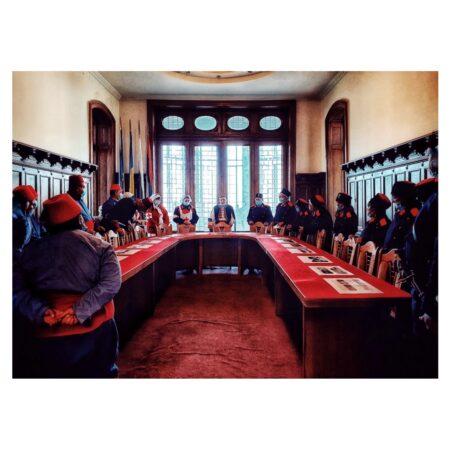 Soldații la reconstituire la Palatul Marincu