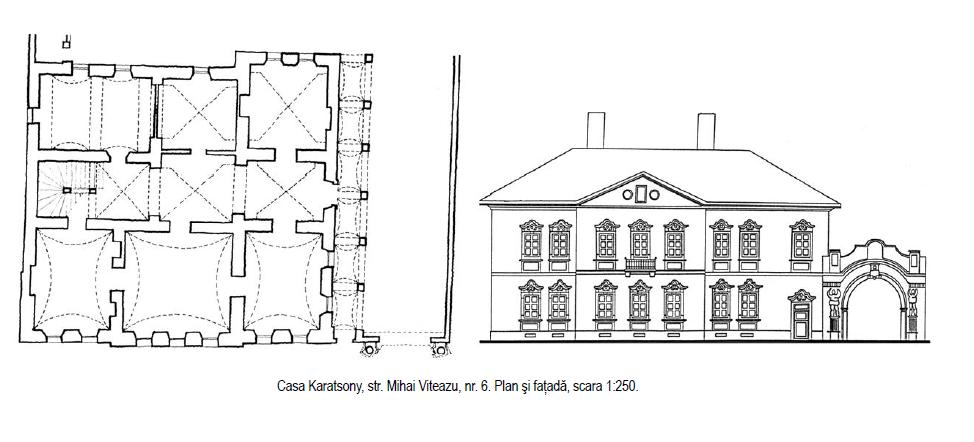 "Casa Karatsony Gherla - Mihai Viteazu nr. 6 - Releveu si plan 2002 - Sursa: ""Armenopolis. Oraș baroc"" de Virgil Pop"