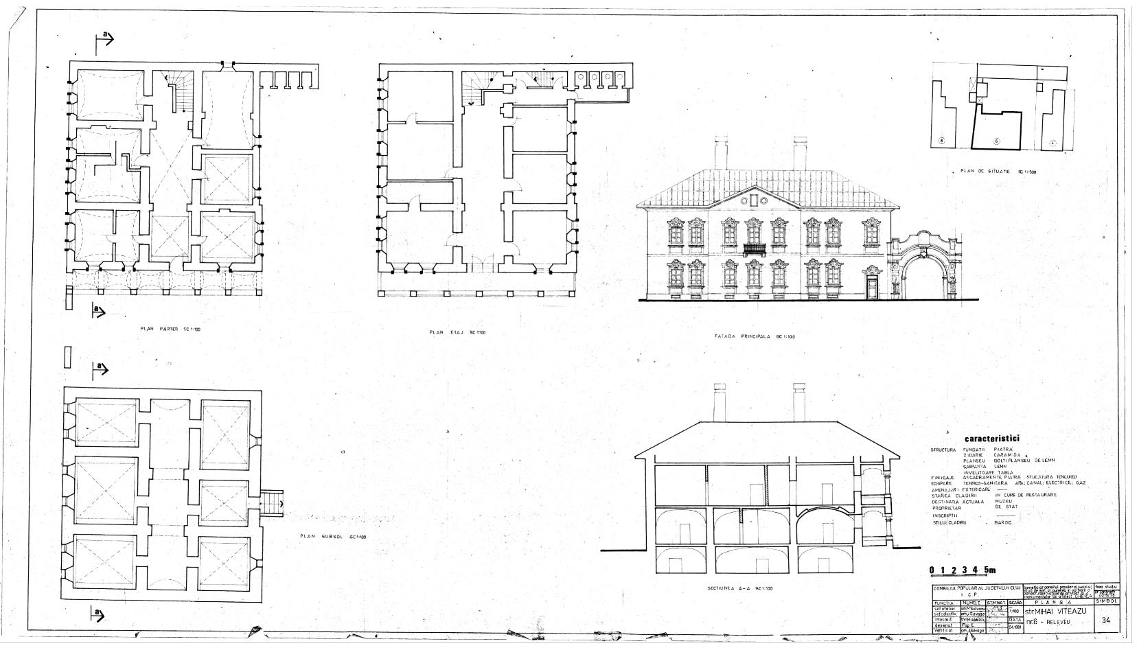 Casa Karatsony Gherla - Mihai Viteazu nr. 6 - Releveu si plan 1972 - Sursa: arh. Claudiu Salanta