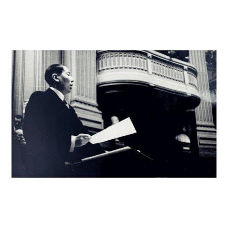 Discursul lui Nicolae Titulescu din Parlament din data de 4 aprilie 1934. Sursa: ANR Fototecă inv. 5243/1407 I - 3