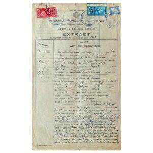 Actul de căsătorie între Valeriu Pușcariu și Maria I. Gologan - 6 noiembrie 1905
