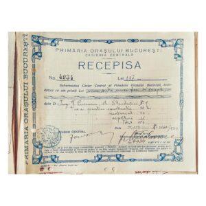 Recipisa pentru constructia garajului din Blanduziei 1 - 1924